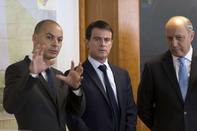 Didier Le Bret  avec Manuel Valls et Laurent Fabius, le 25 juillet 2014.