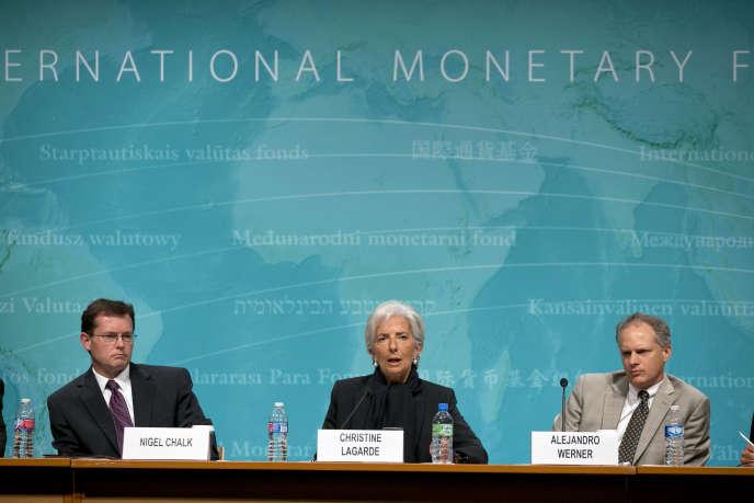 Christine Lagarde, directrice du FMI, lors d'une conférence à Washington, le 4 juin 2015, portant sur le bilan annuel économique des Etats-Unis.