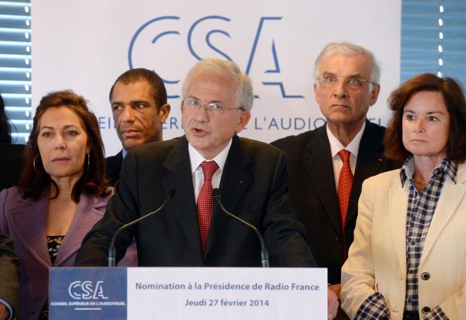 Le président du CSA, Olivier Schrameck lors d'une conférence de presse sur la nomination de Mathieu Gallet à la tête de Radio France, en février 2014.