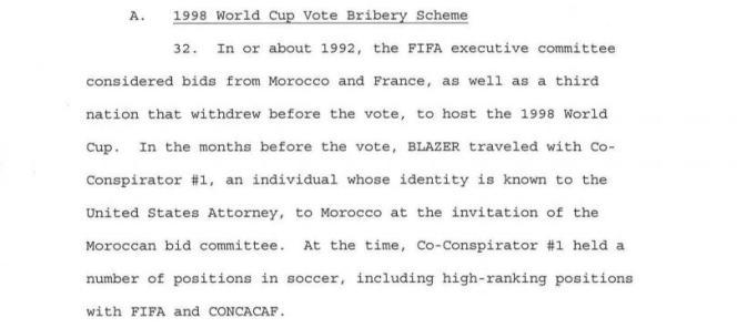 Extrait de l'acte d'accusation de la justice américaine dans le scandale de corruption de la FIFA concernant l'attribution du Mondial 1998.