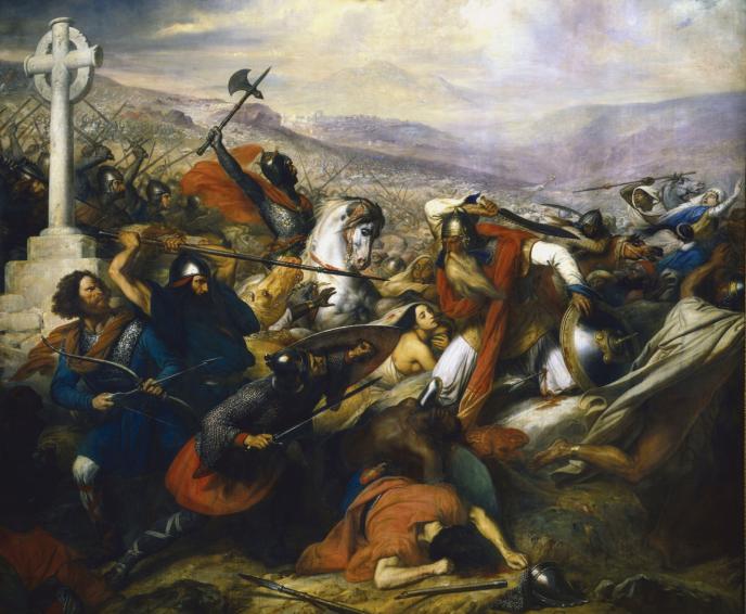 La bataille de Poitiers  en octobre 732, peinte par Charles de Steuben en 1837.