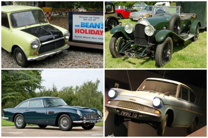 Quatre anglaises pour quatre héros plutôt intrépides : (de g. à dr. et de haut en bas) la Mini de Mr Bean, la Bentley de John Steed, l'Aston de James Bond et la Ford Anglia d'Harry Potter.