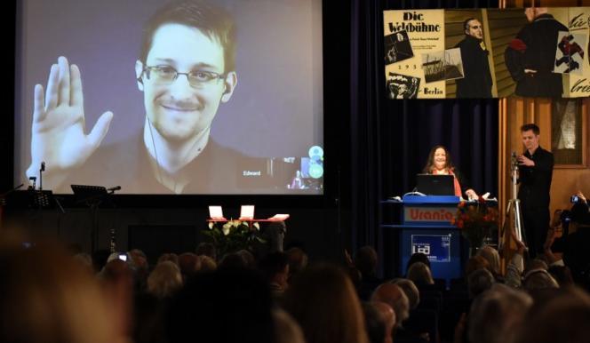 Edward Snowden, le 14 décembre lors d'une visioconférence avec la Ligue internationale des droits de l'homme à Berlin.