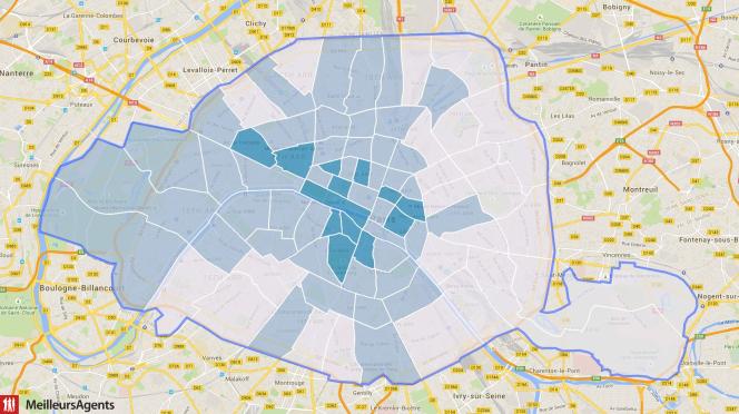 En bleu foncé : quartiers où plus de 30 % des studios affichent des loyers supérieurs à 41,67 euros le m2. En bleu clair : quartiers où entre 10 et 30 % des studios affichent des loyers supérieurs à 41,67 euros le m2.