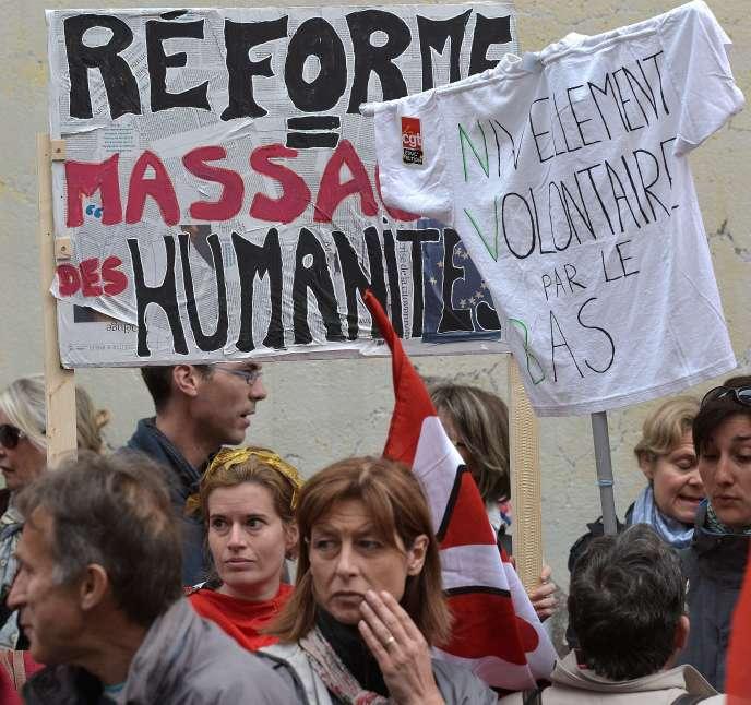 Manifestation contre la réforme du collège, le 19 mai à Strasbourg.