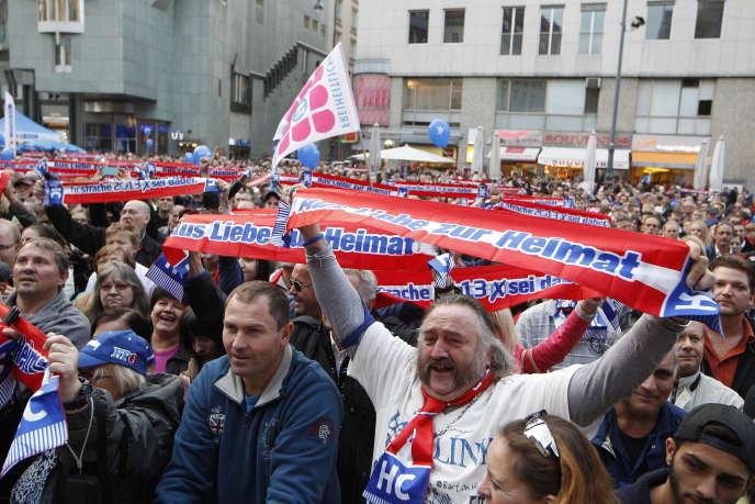 Lors d'une manifestation du FPÖ le 27 septembre 2013 à Vienne.