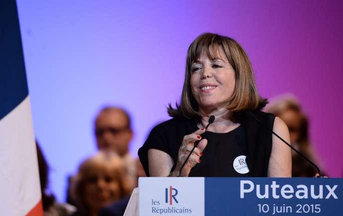 La maire (LR) de Puteaux, Joëlle Ceccaldi-Raynaud, lors d'un meeting de son parti en juin 2015.
