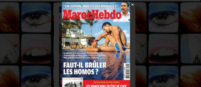 Capture d'écran de la couverture de « Maroc Hebdo » sur l'homosexualité.