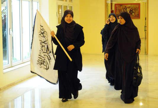 Femmes vêtues de jilbabs, lors d'un congrès du parti islamiste Hizb ut-Tharir, en 2012.