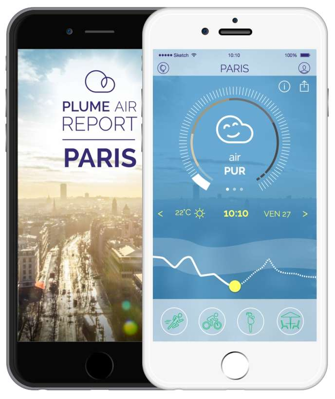 L'application mobile Plume Air Report.