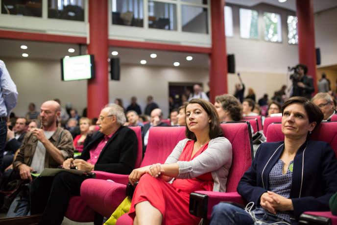 Cécile Duflot lors du conseil fédéral d'Europe écologie-Les Verts, à Paris, le 9mai.
