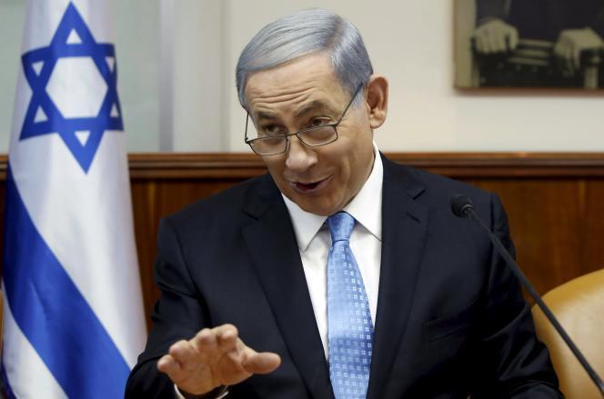 Le premier ministre israélien, Benyamin Nétanyahou,  lors de la réunion hebdomadaire du conseil des ministres, le 14 juin à Jérusalem.