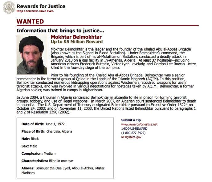Les Etats-Unis ont annoncé avoir mené dimanche un raid dans l'est de la Libye pour tenter de tuer Mokhtar Belmokhtar, et le gouvernement libyen reconnu par la communauté internationale avait affirmé que le djihadiste avait péri dans la frappe.