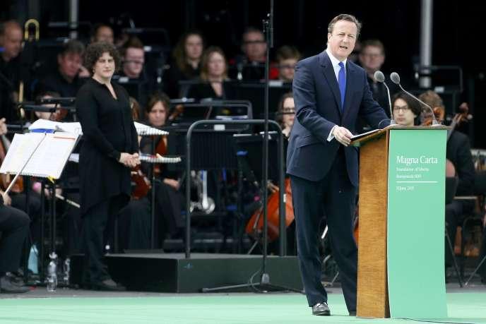 David Cameron, premier ministre britannique, mardi 15 juin à Runnymede, pour la commémoration des 800 ans de la Magna Carta.