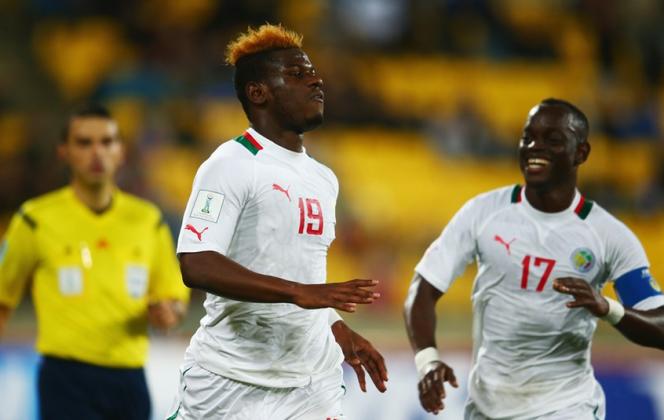 Le Sénégalais Mamadou Thiam célèbre son but, le 14 juin à Wellington (N-Z).