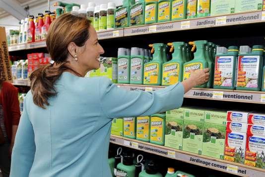 Ségolène Royal, ancienne ministre de l'environnement, retire symboliquement des rayons libre-service les pesticides considérés comme dangereux, lors d'une visite dans un magasin de jardinage àBonneuil-Sur-Marne, près de Paris, en juin 2015.