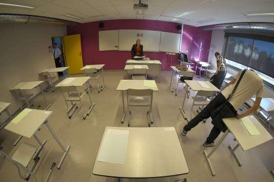 Une salle de classe avant l'examen, en 2015.