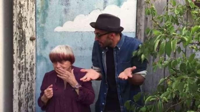 Capture d'écran de la présentation par Agnès Varda et JR de leur projet de film sur la plateforme KissKissBankBank.