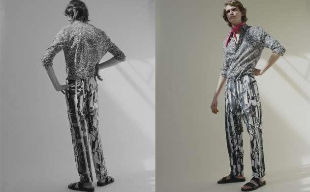 Chemise à col droit en voile de coton imprimé Jardin d'Arménie, pantalon de jogging en popeline de coton imprimée Glitch et bandana en twill de soie imprimé Ex-Libris, Hermès. Nu-pieds en cuir, Minelli.