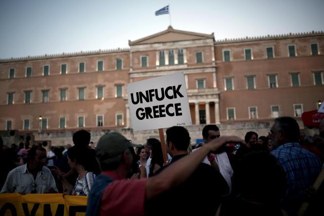 Manifestation en soutien au gouvernement d'Alexis Tsipras, le 17 juin.