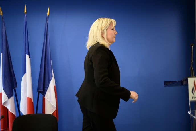 Marine Le Pen au siège du FN à Nanterre, le 3 juin 2015.