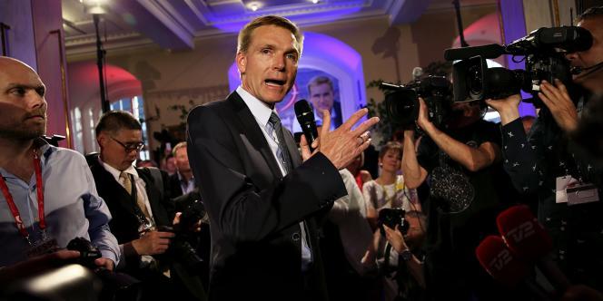 Kristian Thulesen Dahl , le dirigeant du Parti du peuple danois, le 18 juin à Copenhague, au soir de la victoire de son parti.