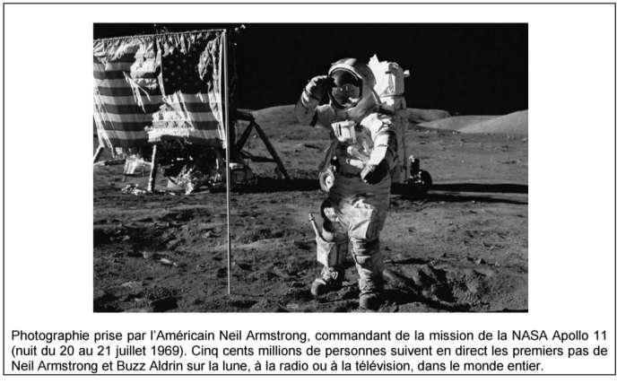Le document 1 de l'épreuve d'histoire-géographie du baccalauréat général 2015, intitulé «La Conquête de la lune».