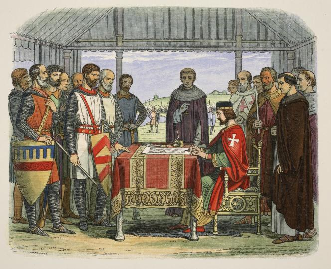 Le roi Jean signant la Grande Charte. Lithographie britannique de 1863.