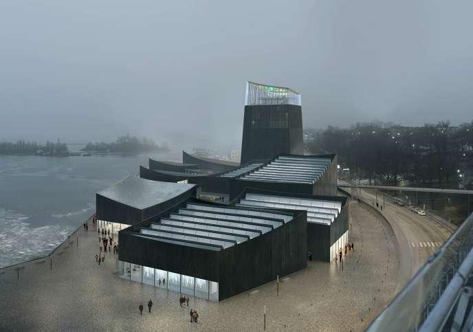 Vue d'artiste du musée Guggenheim d'Helsinki le soir, par l'agence lauréate Moreau Kusunoki Architectes
