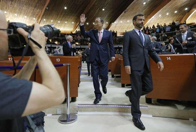 Ban Ki-moon, mardi 23 juin, à l'assemblée parlementaire du Conseil de l'Europe, à Strasbourg.