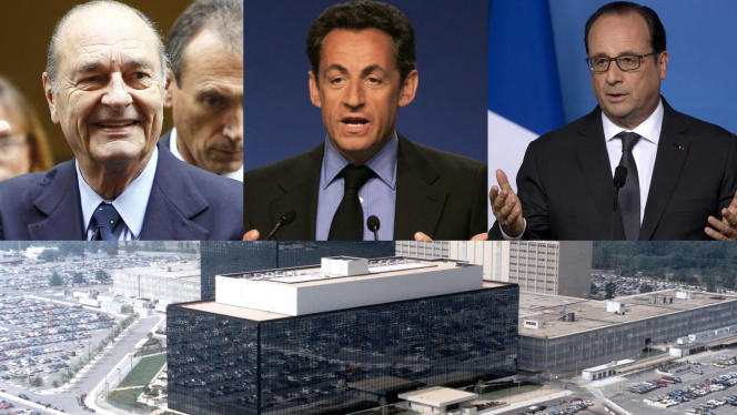 De 2006 à 2012, Jacques Chirac, Nicolas Sarkozy et François Hollande ont été régulièrement espionnés par la NSA, d'après des documents publiés mardi 23 juin par WikiLeaks, Mediapart et Libération.