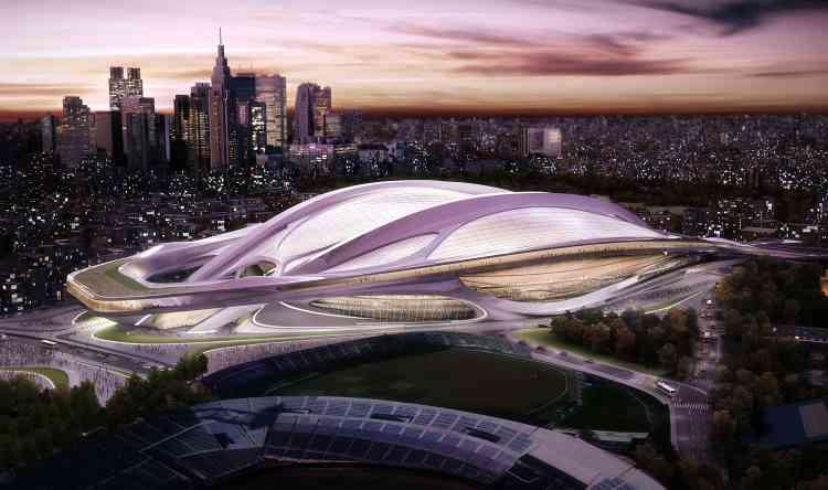 Le projet de Zaha Hadid pour le Stade national des Jeux olympique de Tokyo en 2020, sélectionné en 2012, avait finalement été abandonné à l'été 2015 sur ordre du premier ministre japonais, Shinzo Abe, en raison de l'explosion des coûts. Une décision que l'architecte contestait, accusant le projet de remplacement, celui du Japonais Kengo Kuma, de reprendre d'importants éléments de sa création.