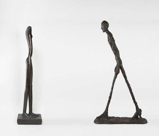 """""""Femme qui marche"""" (1932) et """"Homme qui marche"""" (1960), collection Fondation Giacometti."""