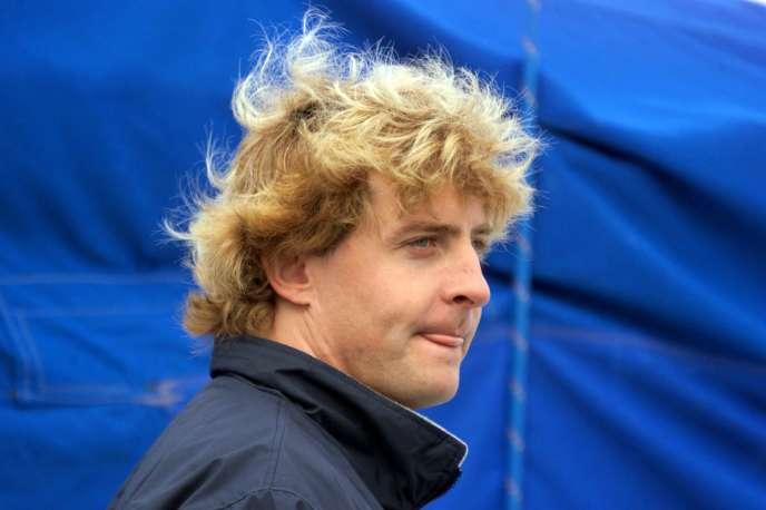 Laurent Bourgnon, en novembre 1998, au départ de la Route du Rhum à Saint-Malo.