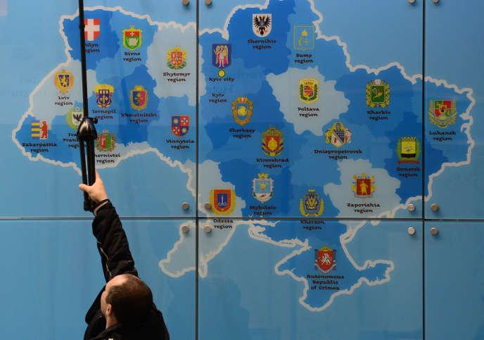 Au stand ukrainien du salon mondial du tourisme ITB, en mars 2014 à Berlin.