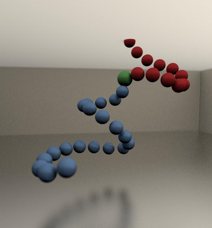 Représentation de molécules à la queue leu leu dans un verre (les autres molécules sont omises). En bleue, des molécules qui bougent en