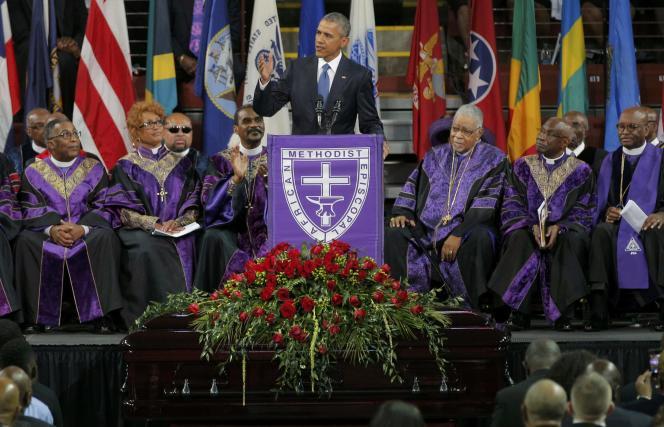 Barack Obama a prononcé l'éloge funèbre du pasteur Clementa Pickney, l'un des neuf morts de la fusillade du 17 juin à Charleston.