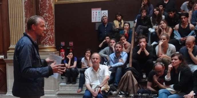 Thomas Ostermeier mardi 23  juin lors de la master class donnée aux Beaux-Arts, à Paris.