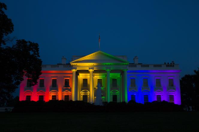 La Maison Blanche aux couleurs de l'arc-en-ciel, le 26 juin.
