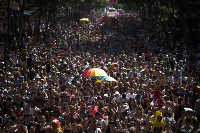 Lors de la Gay Pride à Paris, en 2015.