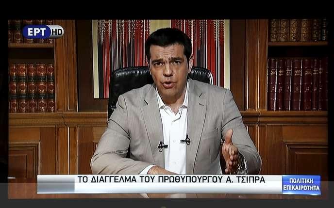 Le premier ministre grec Alexis Tsipras, lors de son allocution télévisée dimanche 28 juin.