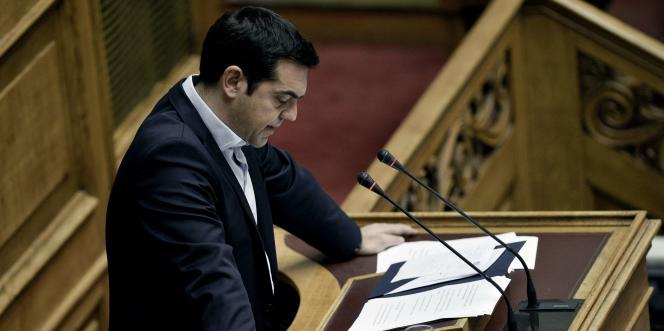 Le premier ministre Alexis Tsipras devant le parlement grec, le 28 juin.