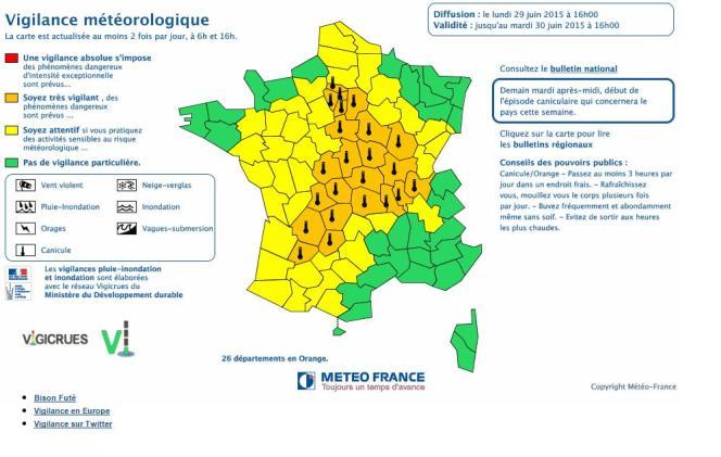 Carte de vigilance de Météo France pour la journée du 30 juin.