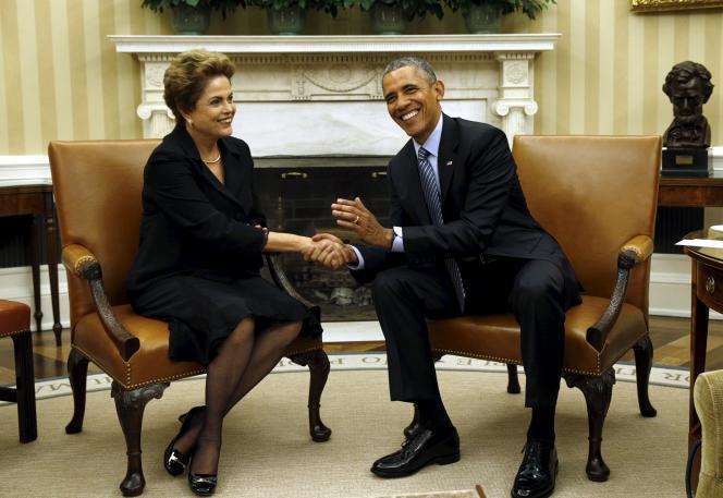 Le président américain, Barack Obama, et son homologue brésilienne, Dilma Roussseff, le 30 juin à Washington.