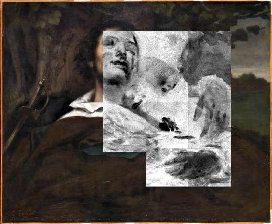 Superposition de l'image du vermillon obtenue par fluorescence X 2D, et de la photographie en lumière directe. Les parties foncées correspondent aux zones de grande densité du vermillon.