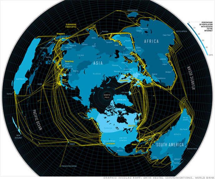 Plus de 250 cables sous-marins tissent le réseau Internet entre les cinq continents.