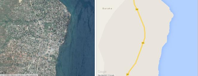 Vue satellite de Baraka (RDC), à gauche. A droite, sa carte sur Google Maps.