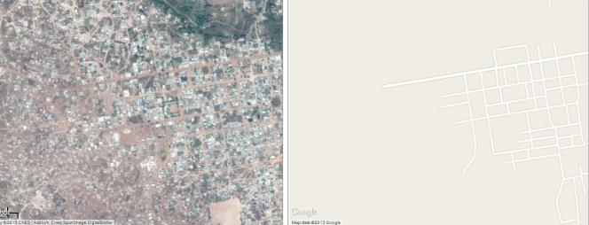 A Gauche, la ville de Tambacounda (Sénégal) vue par satellite. A droite, sa carte sur Google Maps.