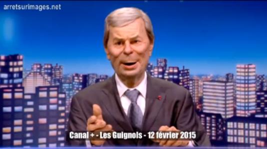La marionnette de Vincent Bolloré, président du conseil de surveillance de Vivendi, groupe auquel appartient Canal+.