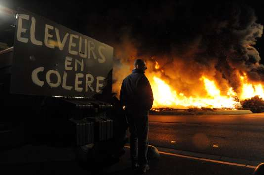 Manifestation d'agriculteurs à Saint-Brieuc (Côtes-d'Armor), le 2 juillet 2015.